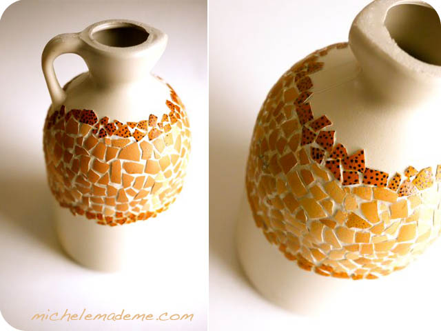 Egg Shell Mosaic on Plastic Jug 4