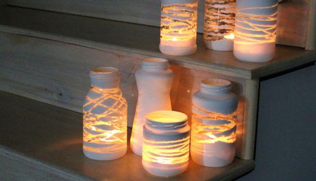 artesanato-pote-vidro-barbante-castical-porta-vela