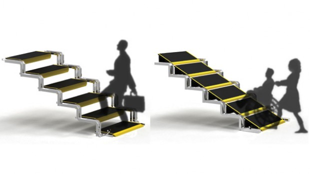 Designer cria escada que vira rampa para cadeirantes