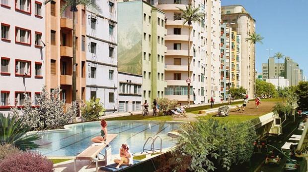 Intervenção urbana leva piscina olímpica para o Minhocão