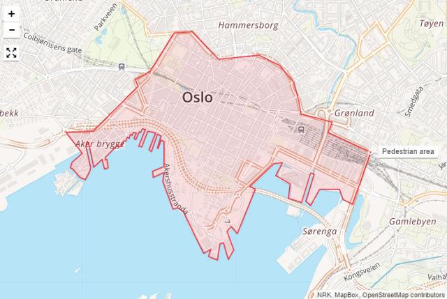 Mapa de Oslo publicado pelo site norueguês NRK mostrando a zona livre de carros proposta.