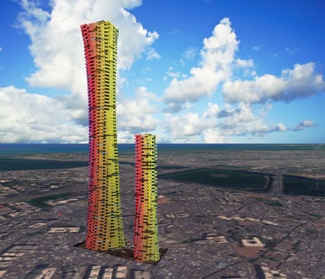 A altura é o grande diferencial deste para outros prédios de contêineres. | Imagem: Divulgação/CRG Architects