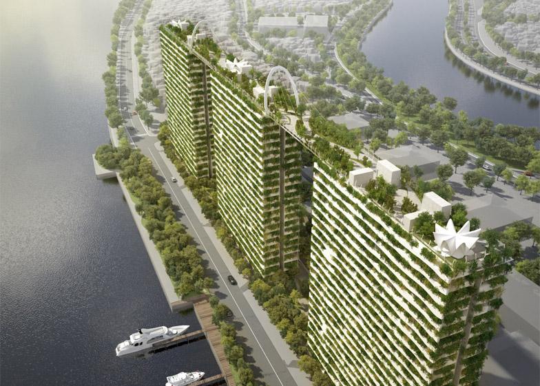 Parque linear na cobertura conecta edifícios residenciais no Vietnã
