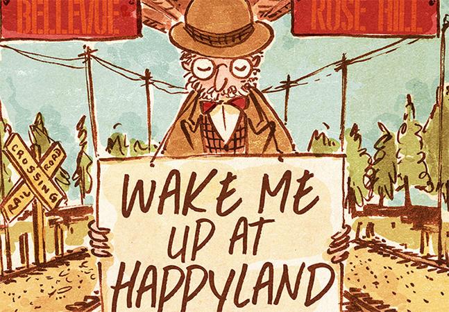 Ilustração retrata homem que viaja à procura da felicidade