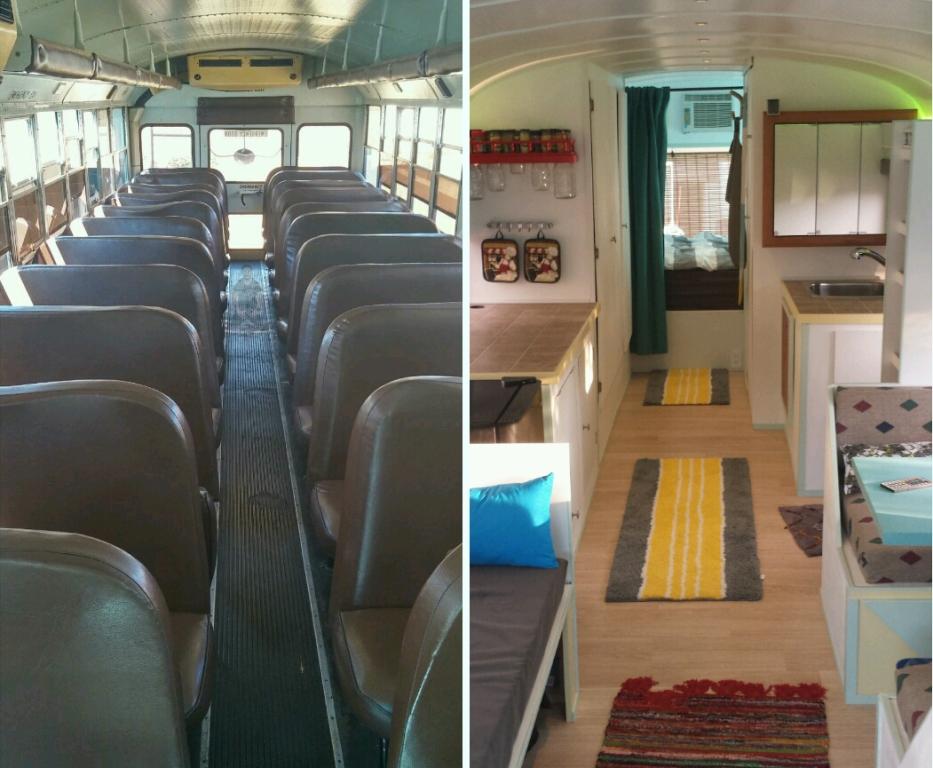 Pai e filho transformam ônibus escolar em casa itinerante com energia solar