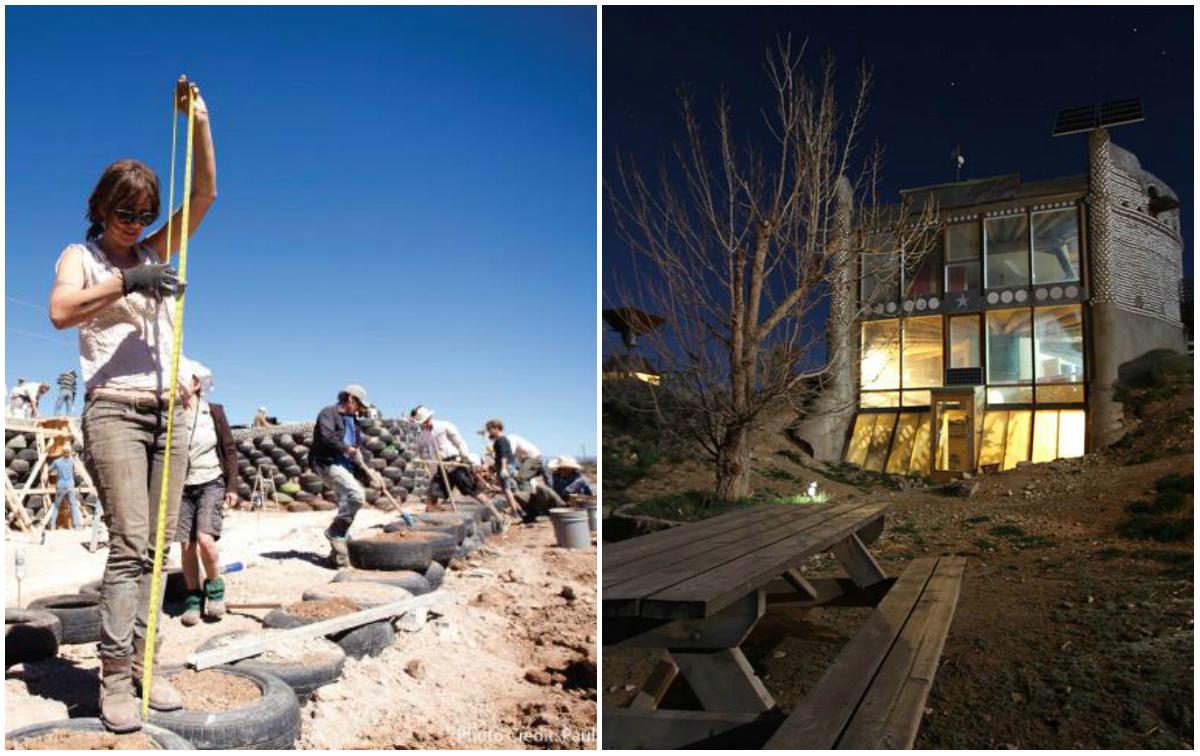 Arquitetura do futuro usa pneus velhos, barro e garrafas para construir casas