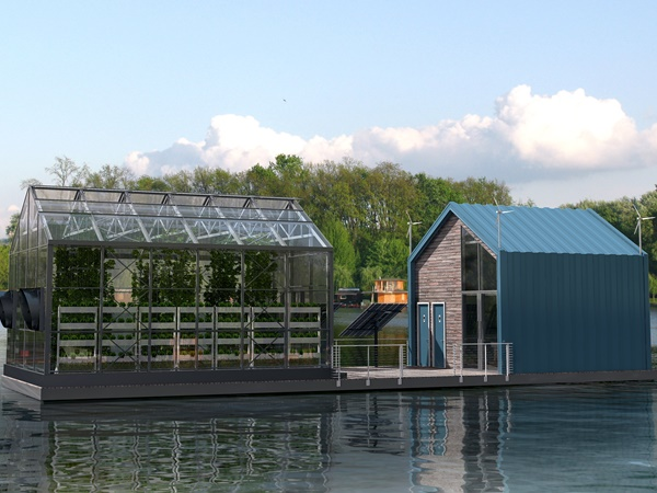 Arquitetos sérvios criam casa flutuante com estufa particular
