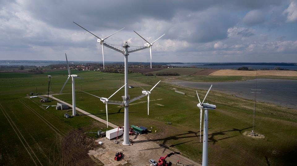 Dinamarca testa turbina eólica com 4 rotores e 12 hélices