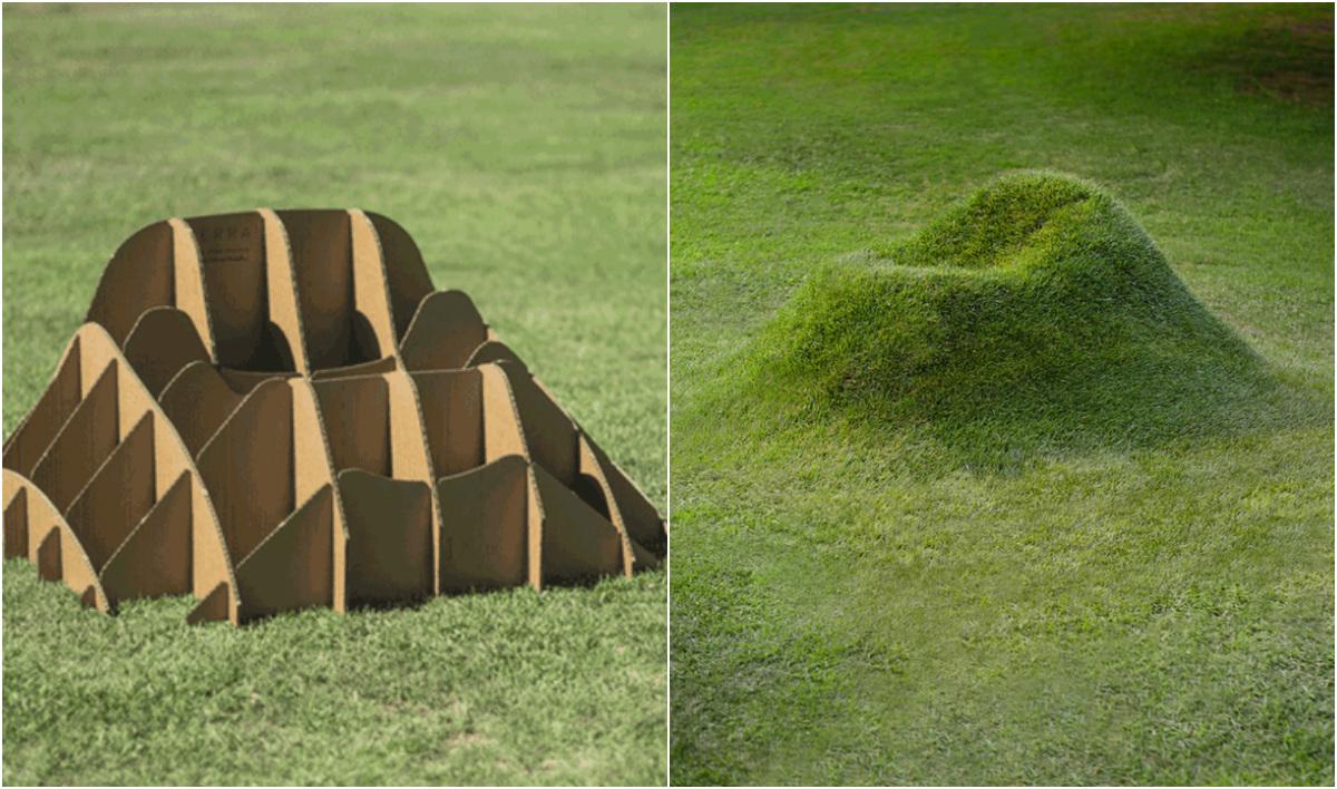 Estrutura de papelão cria poltronas de grama para jardim