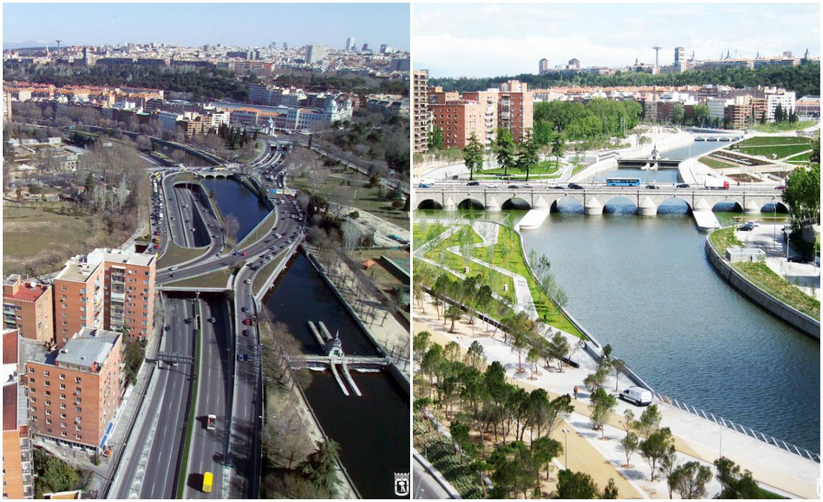Madri destrói avenida em marginal para construir parque linear de 42km