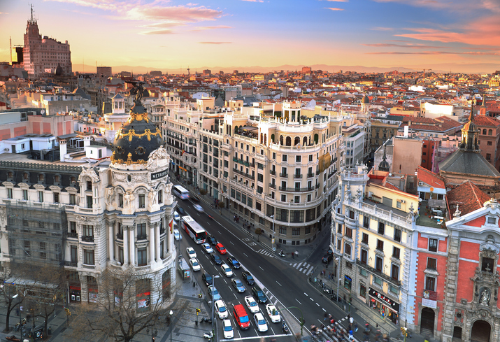 Madrid Skyline at sunset. Gran Via of Madrid is one of the most important street of Madrid