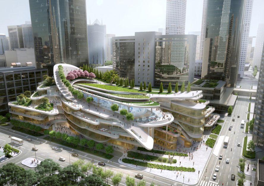 """Topo de maior centro comercial de Pequim terá """"floresta urbana"""" e alimentos orgânicos"""