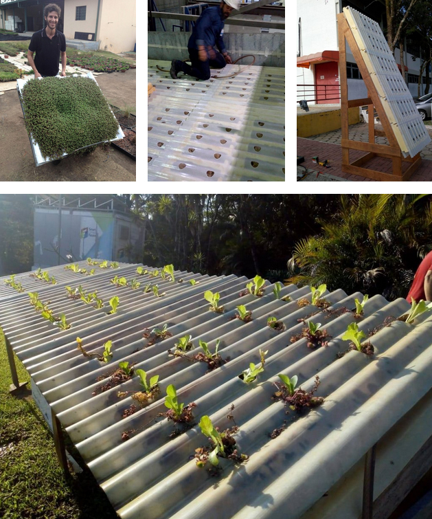 testes feitos para o desenvolvimento da telha hidropônica