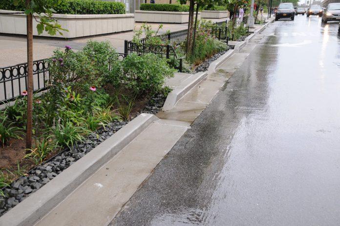 Jardim de chuva na cidade de Nova York