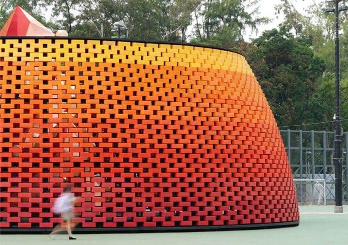 pavilhão tijolo plástico