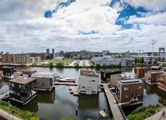 vila flutuante autossuficiente Amsterdã
