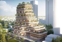 Edifício feito em bambu e madeira